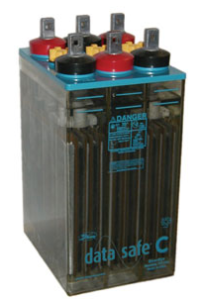 Photo of wet cell UPS battery.